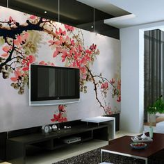 Chinese Cherry Blossom Art Decal Wall Mural with LCD TV for Your Living Room Bedroom Dining Room Home Office Decoration Ideas