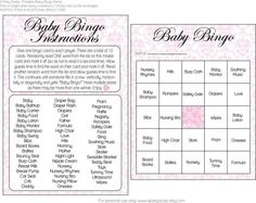 Free printable baby shower bingo game for boy and girl showers