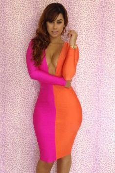 Pink Orange Open Front 2 colors Patchwork Bodycon Dress