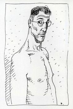 "Self-portrait by Moebius (Jean Giraud - 1938-2012) published in  ""Starwatcher"", Paris: Aedena, 1986, p.3"