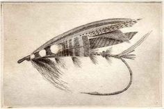 Mackenzie Fly Fishing Salmon fly etching by chartwellprint on Etsy, $25.00