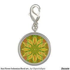 Sun Flower bohemian floral art yellow green orange Photo Charms