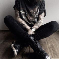 tattoo, black, and boy Bild