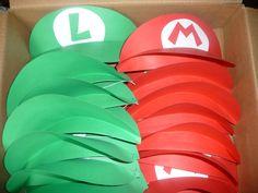 Mario and Luigi paper hats