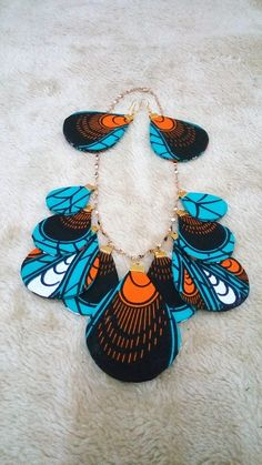 Turquoise Ankara Fabric Statement Necklace Matching