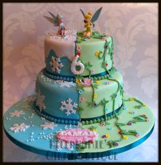 Tinkerbell and Periwinkle cake Fairy Birthday Cake, Birthday Cake Girls, Girl First Birthday, Birthday Parties, Birthday Ideas, Tinkerbell Party, Ballerina Party, Fairy Cakes, Disney Cakes