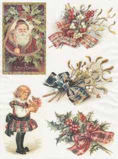 Rice Paper for Decoupage Decopatch Scrapbook Craft Sheet Vintage Merry Cristmas