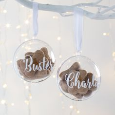 Personalised Pet Treat Bauble // Personalized Dog Gifts // Personalized Pet Gifts // Christmas Gifts For Pets Cricut Christmas Ideas, Christmas Gifts For Pets, Xmas Gifts, Christmas Crafts, Christmas Fairy, Personalised Bauble, Personalised Christmas Baubles, Personalized Gifts, Handmade Christmas