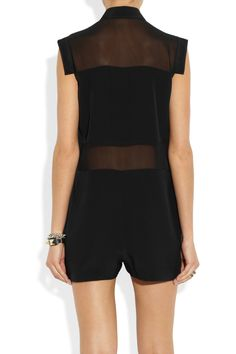 T by Alexander Wang | Paneled silk crepe de chine and silk-chiffon playsuit | NET-A-PORTER.COM