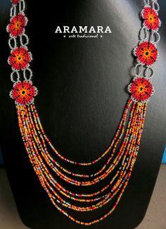 Mexicana Huichol cuentas flor collar Set JGO-0062 mexicano