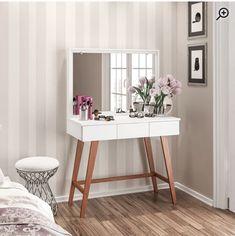 White Vanity Table, Vanity Table Set, Bedroom Vanity Set, Closet Vanity, Living Room And Bedroom Combo, Guest Bedrooms, Girls Bedroom, Aesthetic Room Decor, New Room