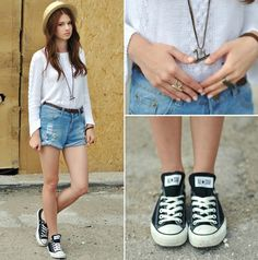 H Hat, Zara Sweater, Shorts, Converse  Shoes