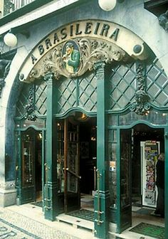 "Art Nouveau Cafè ""A Brasileira"" in Lissabon, Portugal Art Nouveau, Saint Marin, Voyage Europe, Spain And Portugal, Portugal Travel, Sintra Portugal, Shop Fronts, The Doors, Coffee Shops"