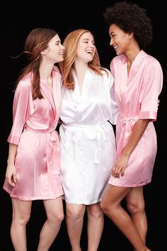 Give robes to your bridesmaids to wear while they're getting hair and makeup done. And don't forget one for yourself! Available at David's Bridal.