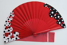 Red and White polka dots. Fancy Hands, Pretty Hands, Beautiful Hands, Hand Held Fan, Hand Fans, Kalluto Zoldyck, Chinese Fans, Vintage Umbrella, Glass Wall Art
