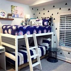 Boy girl shared room.  Bunk beds NEED Beddy's zipper bedding!  Look how clean this looks! www.beddys.com