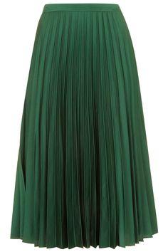 PETITE Satin Pleated Midi Skirt