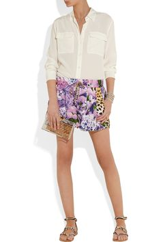 Just Cavalli   Printed satin shorts   NET-A-PORTER.COM