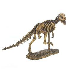 """Put some bite into your decor with this detailed T-Rex skeleton statue thats a perfect fit for your desk or bookshelf. Made of polyresin, this scaled-down T-Rex is on the run and is sure to delight dinosaur fans and adventurous decor aficionados.    Item weight: 3.80lbs  Item dimensions: 7.50"""" W x 10.50"""" H x 18.50"""" L  Materials: Polyresin, Felt Pads  UPC: 849179023195        Shipping Details for this Item:          Continental U.S. Ground orders placed before 10:00 am PST Monday through…"""