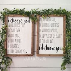 Incredible I'd Choose You, I Choose You, Set of 2 // Quote // Wedding // Anniversary // Bedroom Decor // Farmhouse Sign // Rustic // Painted Wood Sign by SugarKoatedSigns on Etsy www.etsy.com/… T ..
