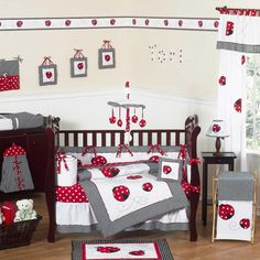 Ladybug Nursery - Girl. There's waaaaaay too much going on here, but with just a few pieces it would be cute.