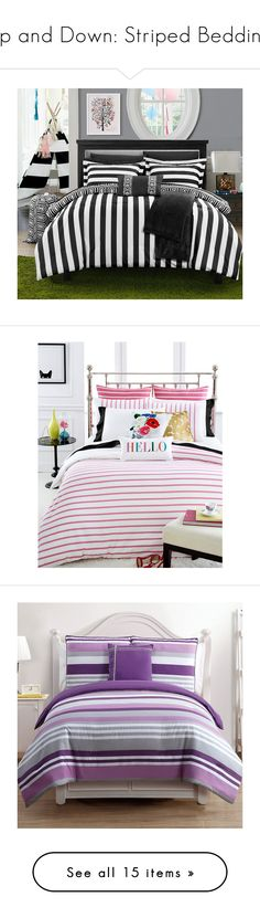 """""""Up and Down: Striped Bedding"""" by polyvore-editorial ❤ liked on Polyvore featuring stripedbedding, home, bed & bath, bedding, 10 piece bedding set, stripe bedding sets, geometric bedding, striped bedding sets, striped bed linen and duvet covers"""