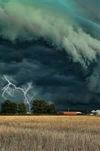 Lightning and scary storm clouds