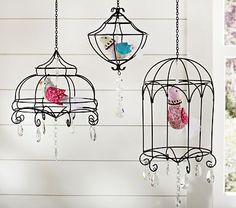 put birds in hanging chandeliers for playroom. LOVE LOVE LOVE doing this!