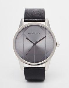 UNKNOWN Urban Geo Black Leather Strap Watch