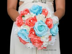 Coral and Aqua Teal wedding flower bouquet for bride or bridesmaids