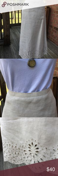 Talbots's Beige Lined Linen Skirt You NEED this skirt! Easy dress up for office or throw on your favorite cami for shopping and flirting! Open cutwork hemline and figure flattering A-line will boost your confidence so you just might get that job, snag that new love AND win the lottery! Either way you'll look great! Talbots Skirts A-Line or Full