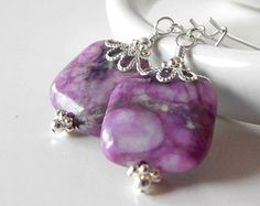 Purple Earrings Square Jasper Stone Dangles Semi Precious Beaded Jewelry Geometric Purple Stone Jewelry in Silver Beaded Earrings Handmade