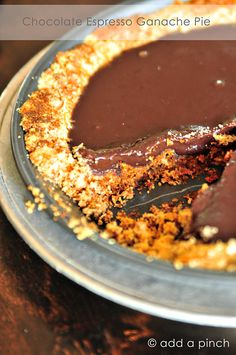 Chocolate Espresso Ganache Pie is the perfect answer when you want something chocolate. This recipe is grain free, gluten free, sugar free, egg free, and Paleo-friendly, but definitely not flavor free!