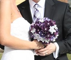 I would like these Purple Flowers mixed in with the roses and ivy idea.