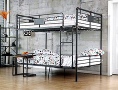 Shop the Furniture of America Industrial Piping Full Metal Bunk Bed featuring convertible full size beds in antique black finish.