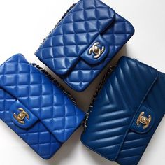 "f4690e9f4b84 Opulent Habits on Instagram: ""Blue Mini Heaven! 🌈💙Three beauties in  stock! Authentic Chanel Blue Lambskin Square Mini with silver hardware,  Blue Lambskin ..."