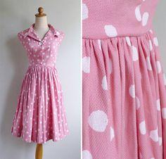 Vintage 40's 50's Pink Polka Dot Cotton Full by fivestonesvintage