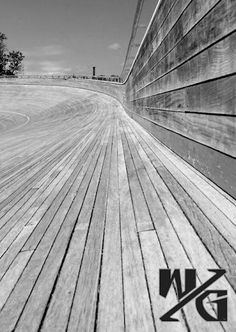 Wooden motorcycle racing track.