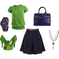 Navy and Lime, created by emily-irvine-roeder on Polyvore