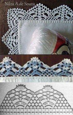 50 Ideas for crochet lace edging ganchillo Crochet Boarders, Crochet Edging Patterns, Crochet Lace Edging, Crochet Hook Set, Crochet Chart, Thread Crochet, Love Crochet, Filet Crochet, Crochet Gifts