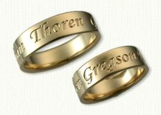 14kt yellow gold custom personalized wedding bands reverse etch - Personalized Wedding Rings