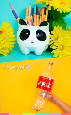 Desk organizers with recyclable materials Panda pencil holder with a recycled plastic bottle Desk or Recycled Crafts Kids, Fun Crafts, Diy And Crafts, Arts And Crafts, Paper Crafts, Crafts With Recycled Materials, Diy For Kids, Crafts For Kids, Plastic Bottle Crafts