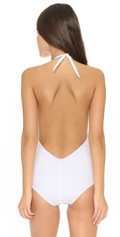 61e88c7dd4bb8 Karla Colletto Plunge Back One Piece Swimsuit | SHOPBOP One Piece Swimsuit,  White Swimsuit,