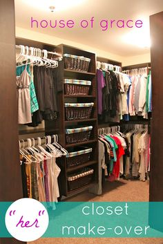 I LOVE this closet organization! Ok, it's a little overkill . . . I think this woman has too many clothes. I do like the shoe wall idea and the 'purse/sunglasses' area with the drawers. Combine that with a few of the hanging bars and it would be FABULOUS for ME! :) <3