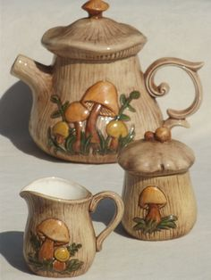Retro Mushroom kitchen accessories | 70s retro mushrooms ceramic kitchen set, vintage tea pot, creamer ...