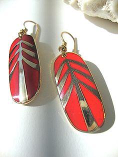 Laurel Burch Earrings Red Feather Vintage Enamel