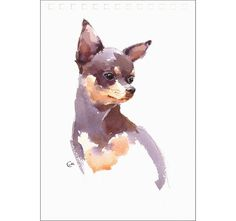 Chihuahua - Original Watercolor Painting 7x9.5 inches Dog Portrait Pets Animals