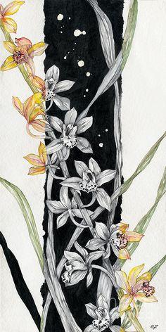 Flower ORCHID 07 Elena Yakubovich Painting  - Flower ORCHID 07 Elena Yakubovich Fine Art Print