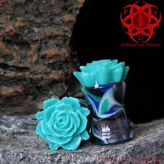 Teal Rose Flower Swirl Ear Plugs Gauged Ears by PiercedEyeDesign Fake Plugs, Gauges Plugs, Tapers And Plugs, Color Swirl, Tunnels And Plugs, Me Time, Body Jewellery, Tiffany Jewelry, Peircings