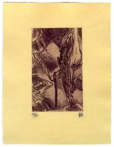 Klaus Maßem - Bäume, 2005, Radierung, Motivgröße 7,5 x 12,5 cm - Jahresgabe 2005 des Kunstverein Trier Junge Kunst an seine Unterstützer